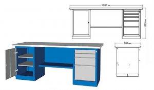 Верстак двухтумбовый 1900x686x855h с деревянной столешницей, тумбы с дверцей / с 4 ящиками